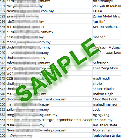 sample email markeitng list